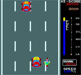 In game image of MotoRace USA on the Arcade.