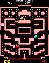 In game image of Ms. Pac-Man Plus on the Arcade.