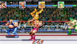 In game image of Muscle Bomber Duo: Ultimate Team Battle on the Arcade.