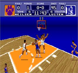 In game image of NCAA Basketball on the Arcade.