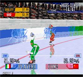 In game image of Nagano Winter Olympics '98 on the Arcade.