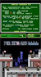 In game image of Ninja Gaiden Episode II: The Dark Sword of Chaos on the Arcade.