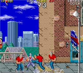 In game image of Ninja Ryukenden on the Arcade.