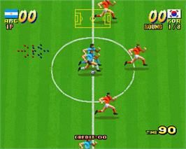 In game image of Olympic Soccer '92 on the Arcade.
