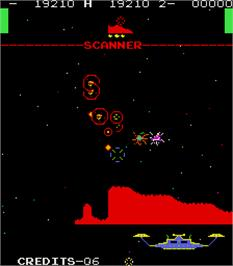 In game image of Orbitron on the Arcade.
