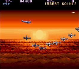 In game image of P-47 - The Phantom Fighter on the Arcade.