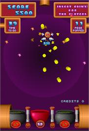 In game image of Peggle on the Arcade.