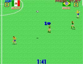 In game image of Premier Soccer on the Arcade.