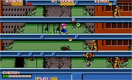 In game image of Psycho Soldier on the Arcade.