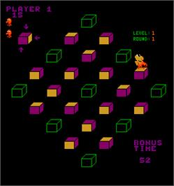 In game image of Q*bert's Qubes on the Arcade.
