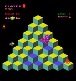 In game image of Q*bert on the Arcade.