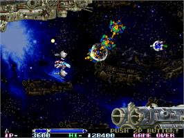 In game image of R-Type Leo on the Arcade.