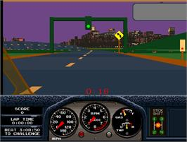 In game image of Race Drivin' on the Arcade.