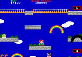 In game image of Rainbow Islands on the Arcade.