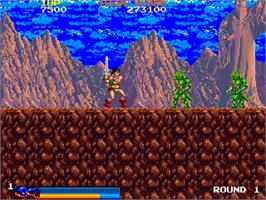In game image of Rastan Saga on the Arcade.