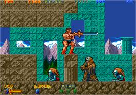 In game image of Rastan Saga 2 on the Arcade.