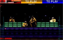In game image of Revolution X on the Arcade.