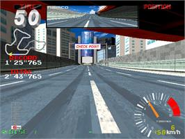 In game image of Ridge Racer 2 on the Arcade.