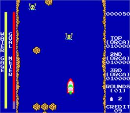 In game image of River Patrol on the Arcade.