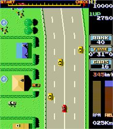 In game image of Road Fighter on the Arcade.