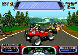 In game image of Road Riot 4WD on the Arcade.