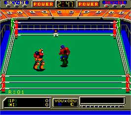In game image of Robo Wres 2001 on the Arcade.