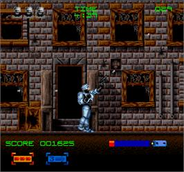 In game image of Robocop 3 on the Arcade.