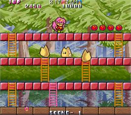 In game image of Rod-Land on the Arcade.