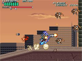 In game image of Rohga Armor Force on the Arcade.