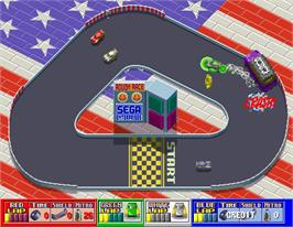 In game image of Rough Racer on the Arcade.