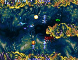 In game image of Salamander 2 on the Arcade.