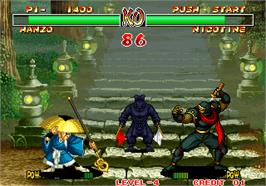 In game image of Samurai Shodown II / Shin Samurai Spirits - Haohmaru jigokuhen on the Arcade.