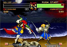 In game image of Samurai Shodown IV - Amakusa's Revenge / Samurai Spirits - Amakusa Kourin on the Arcade.