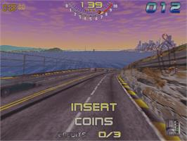 In game image of San Francisco Rush: The Rock on the Arcade.