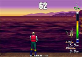 In game image of Sea Bass Fishing on the Arcade.