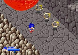 In game image of SegaSonic The Hedgehog on the Arcade.