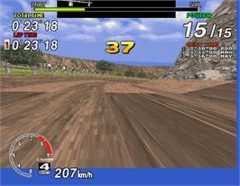 In game image of Sega Rally Championship on the Arcade.