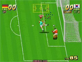 In game image of Seibu Cup Soccer on the Arcade.