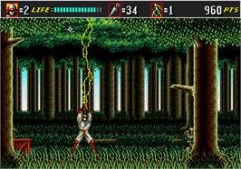 In game image of Shinobi III on the Arcade.