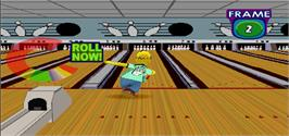In game image of Simpsons Bowling on the Arcade.