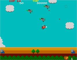 In game image of Sky Kid on the Arcade.