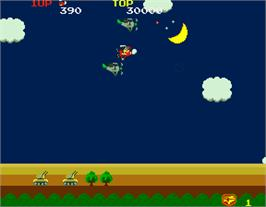 In game image of Sky Kid Deluxe on the Arcade.