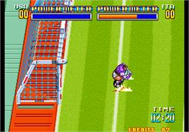 In game image of Soccer Brawl on the Arcade.