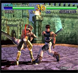 In game image of Soul Calibur on the Arcade.