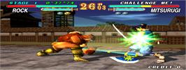 In game image of Soul Edge on the Arcade.