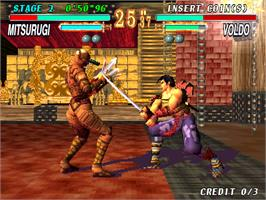 In game image of Soul Edge Ver. II on the Arcade.