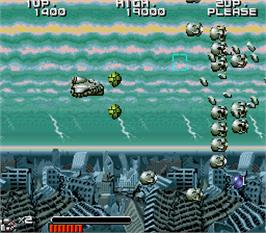 In game image of Space Battle Ship Gomorrah on the Arcade.