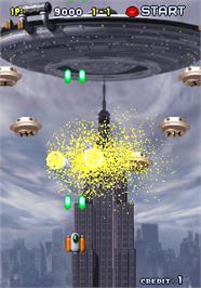 In game image of Space Bomber on the Arcade.