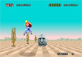 In game image of Space Harrier on the Arcade.