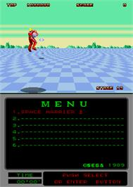 In game image of Space Harrier II on the Arcade.